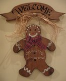 Wooden Gingerbread Man Welcome Sign in Naperville, Illinois